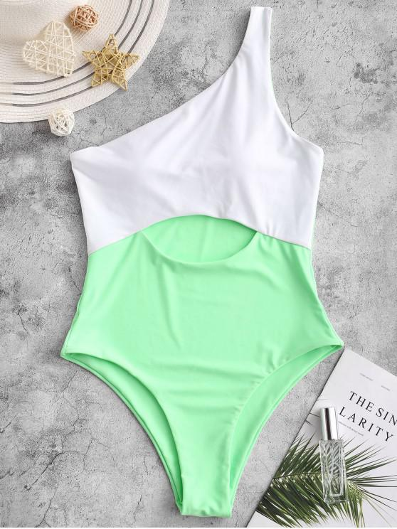 buy ZAFUL One Shoulder Cutout Color Block One-piece Swimsuit - JADE GREEN L