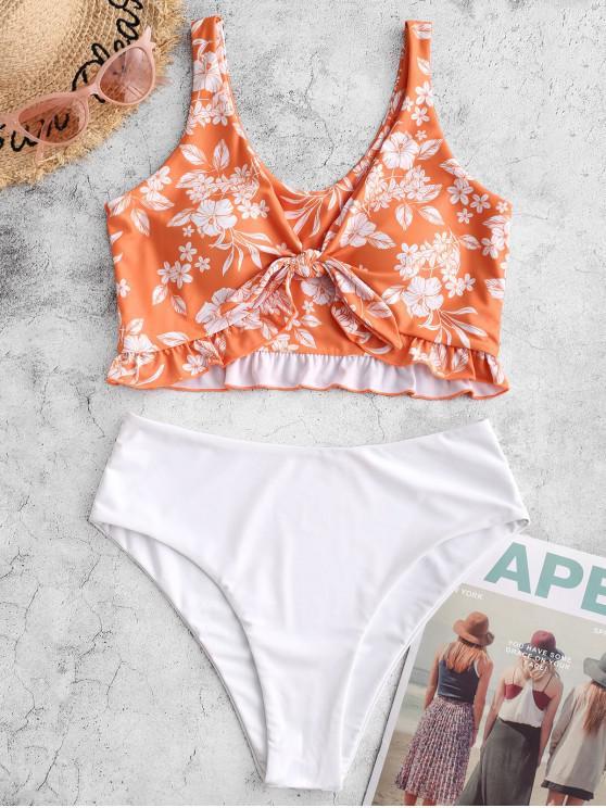 trendy ZAFUL Flower Tie Front Ruffle Tankini Swimsuit - SANDY BROWN M