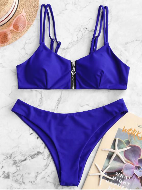 online ZAFUL Front Zip Dual Straps Padded Bikini Swimsuit - NAVY BLUE M