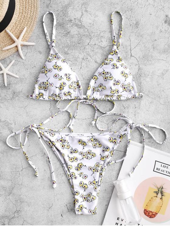 online ZAFUL Ditsy Print Padded String Bikini Swimsuit - MULTI-C M