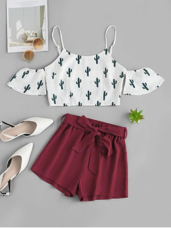 trendy ZAFUL Cold Shoulder Cactus Print Top And Shorts Set - CHESTNUT RED M