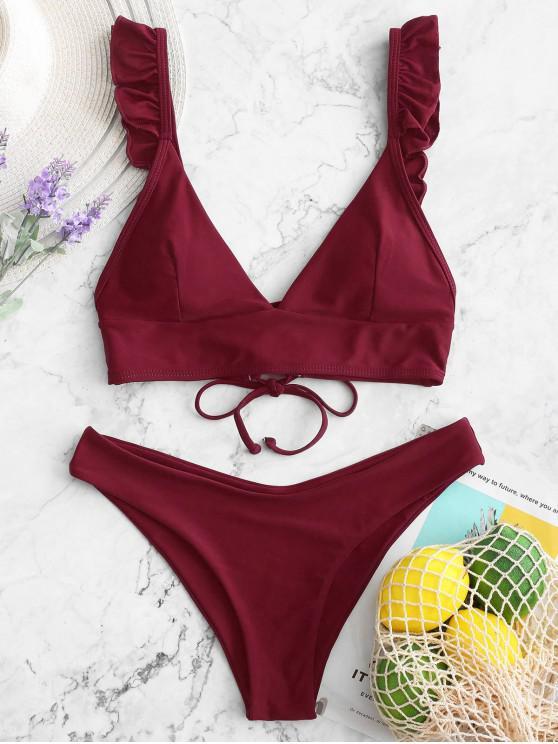 unique ZAFUL Ruffle Lace Up Padded Bikini Swimsuit - RED WINE L