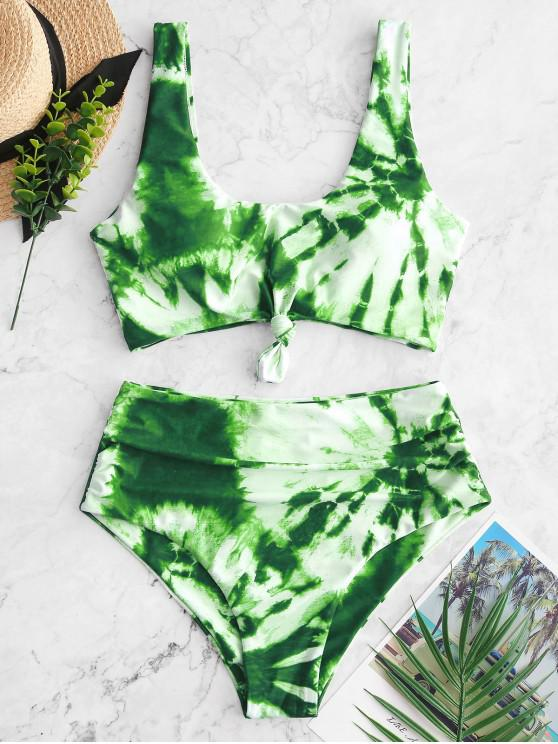 outfit ZAFUL Tie Dye Knotted Tummy Control Tankini Swimsuit - MULTI-B L