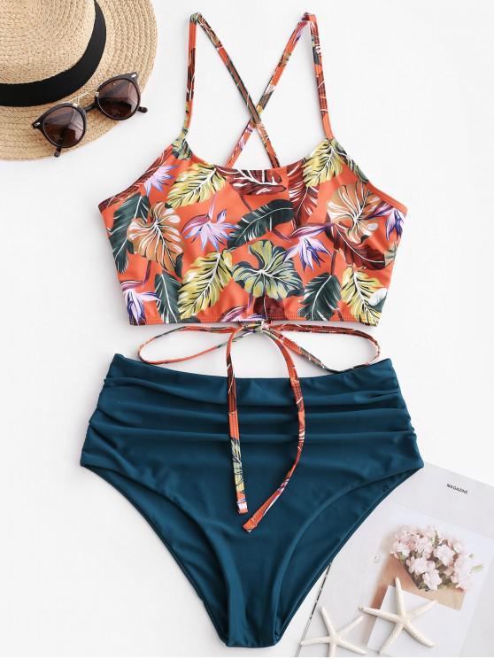 lady ZAFUL Leaf Print Crisscross Ruched Tankini Swimsuit - PEACOCK BLUE L