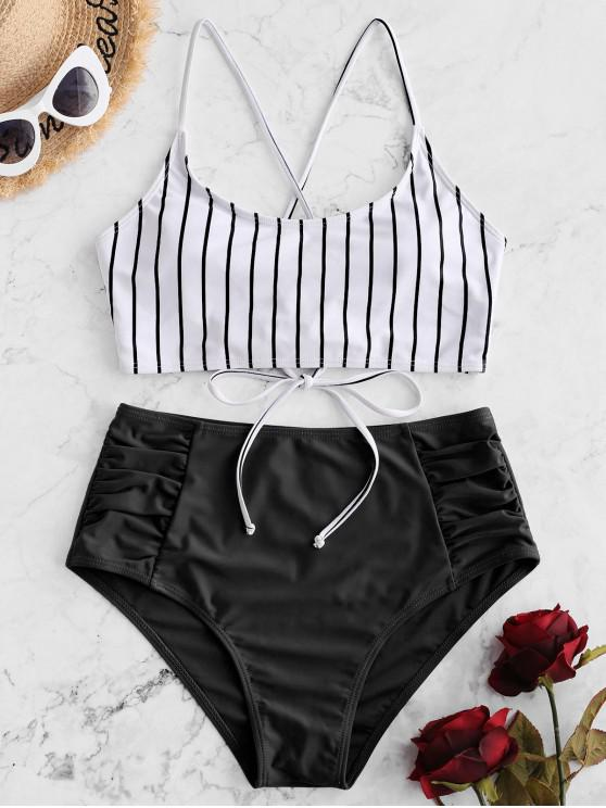 women's ZAFUL Striped Lace-up Ruched Tankini Swimsuit - BLACK S