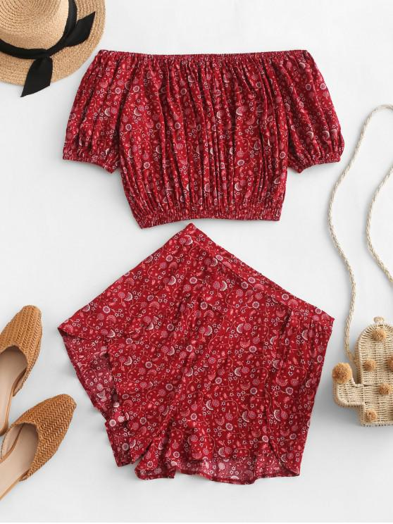 buy Overlap Ditsy Floral Off Shoulder Two Piece Set - RED M