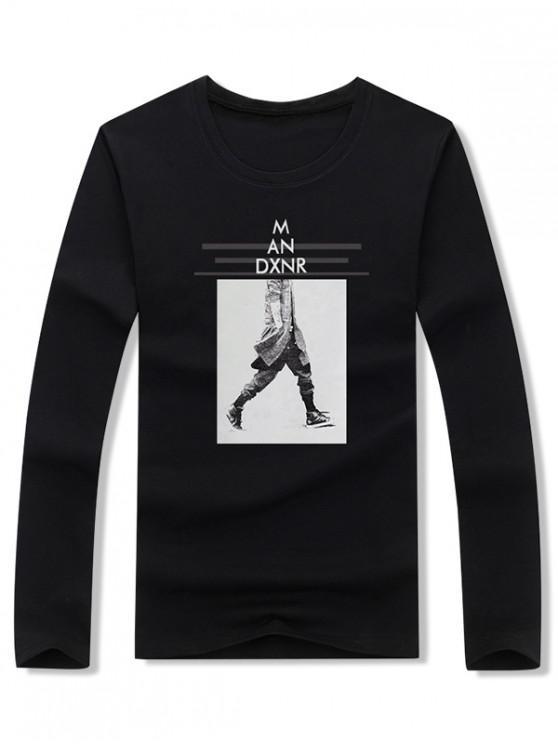 lady Walking Men Stripes Letter Graphic Print T-shirt - BLACK L