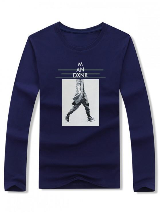 best Walking Men Stripes Letter Graphic Print T-shirt - CADETBLUE L