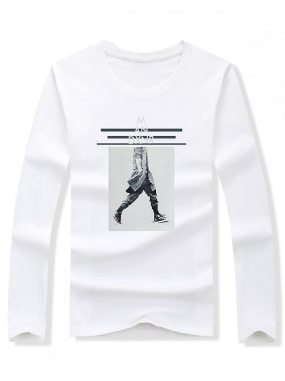 fashion Walking Men Stripes Letter Graphic Print T-shirt - WHITE XL