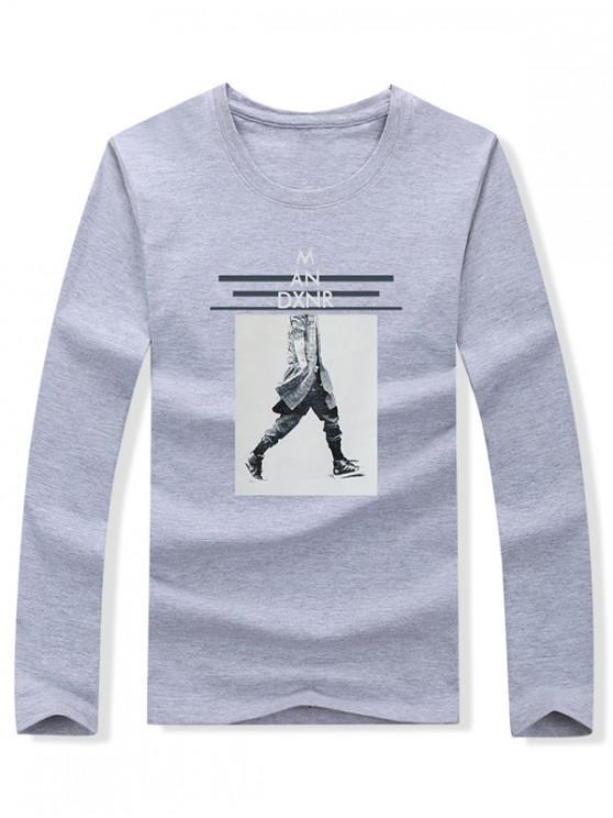 women's Walking Men Stripes Letter Graphic Print T-shirt - GRAY L