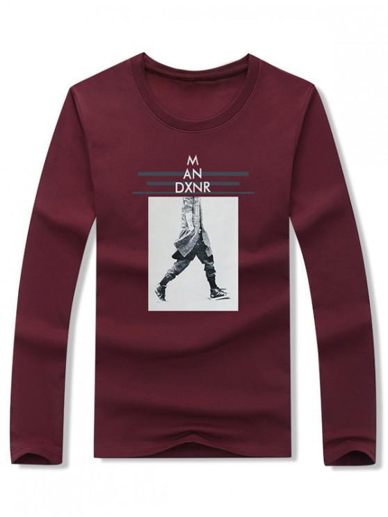 latest Walking Men Stripes Letter Graphic Print T-shirt - RED WINE L