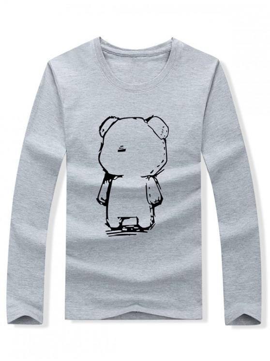 unique Abstract Cartoon Bear Drawing Print Long Sleeve T-shirt - GRAY S