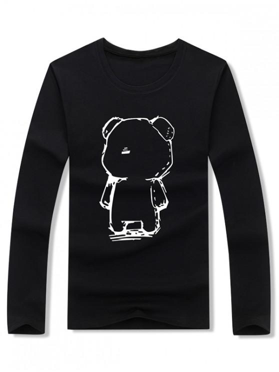 best Abstract Cartoon Bear Drawing Print Long Sleeve T-shirt - BLACK M