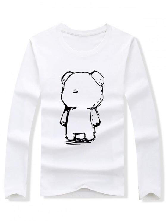 latest Abstract Cartoon Bear Drawing Print Long Sleeve T-shirt - WHITE S