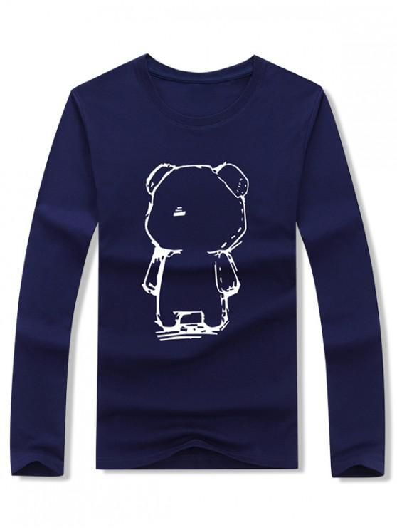 shop Abstract Cartoon Bear Drawing Print Long Sleeve T-shirt - CADETBLUE M