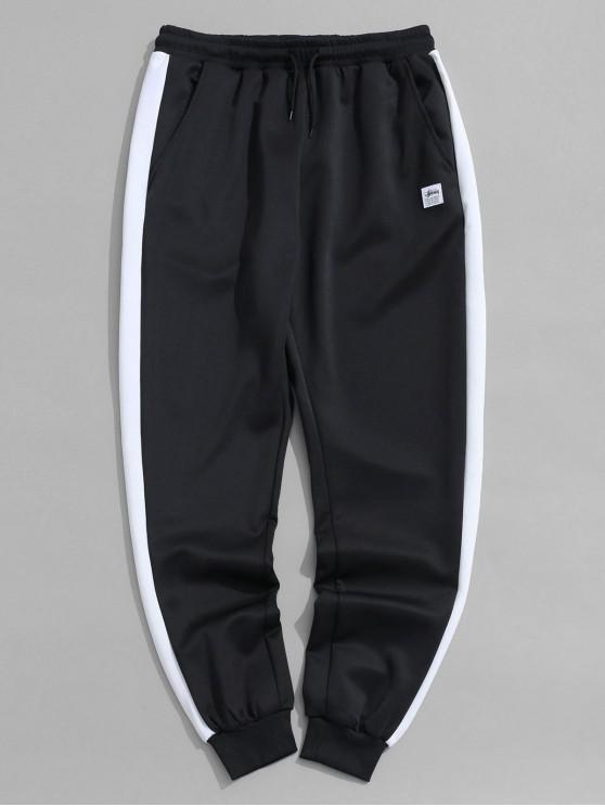women's Color Block Panel Applique Sport Jogger Pants - BLACK XS