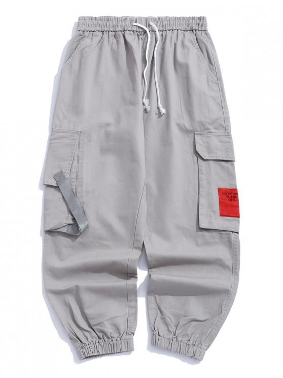 ladies Applique Patchwork Flap Pocket Casual Jogger Pants - GRAY CLOUD XS
