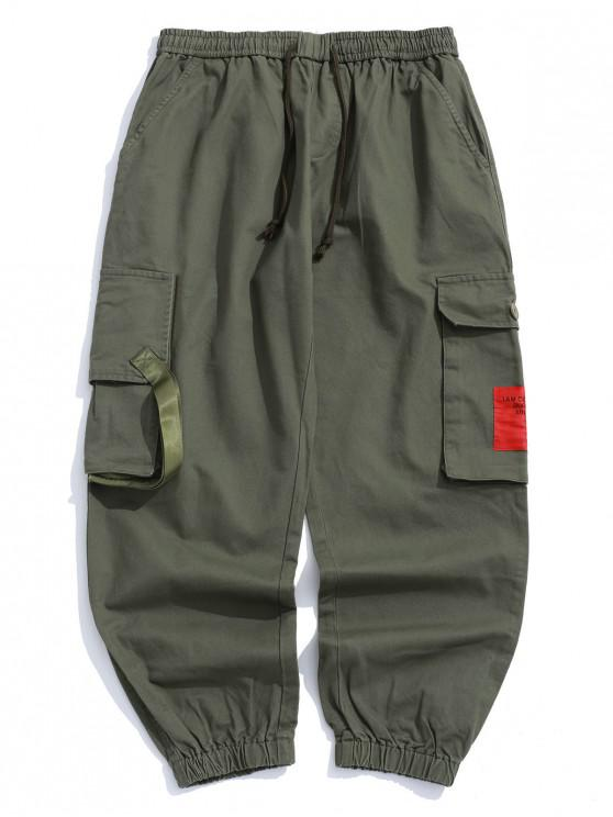 womens Applique Patchwork Flap Pocket Casual Jogger Pants - ARMY GREEN M