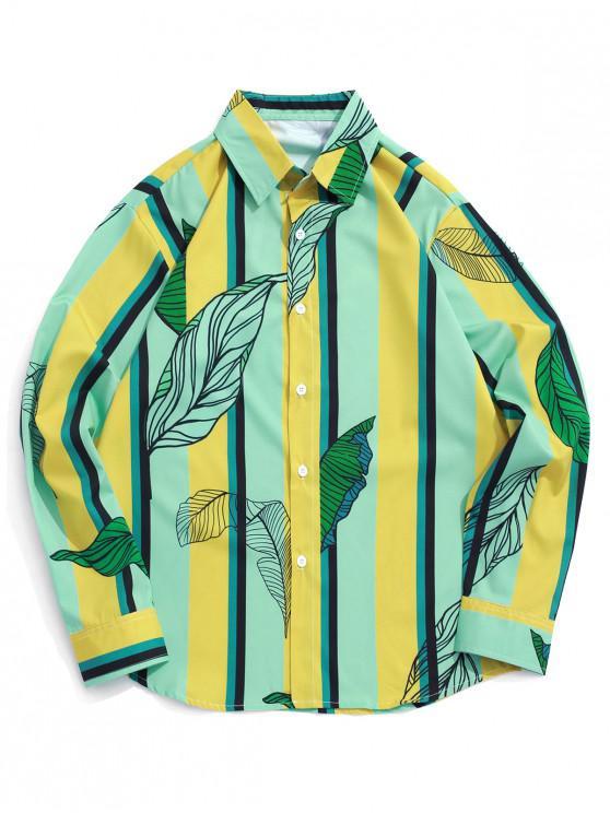 fancy Leaf Colorblock Striped Print Long Sleeve Shirt - MULTI L