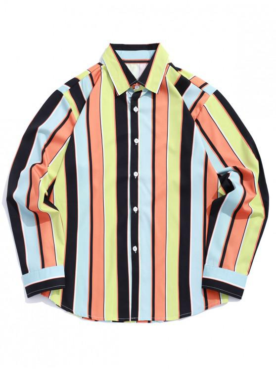 women Vertical Striped Print Color Block Long Sleeve Shirt - MULTI L