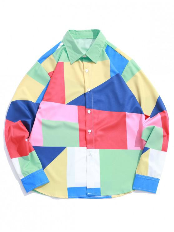 best Color Block Spliced Geometric Print Casual Button Shirt - MULTI XL