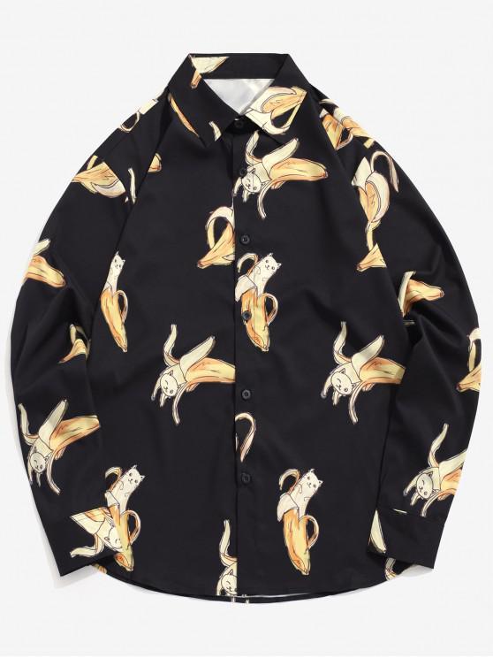 lady Banana Cat Print Long Sleeve Button Shirt - BLACK 2XL