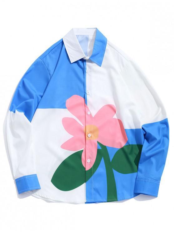 hot Floral Color Block Splicing Long Sleeve Button Shirt - MULTI XL