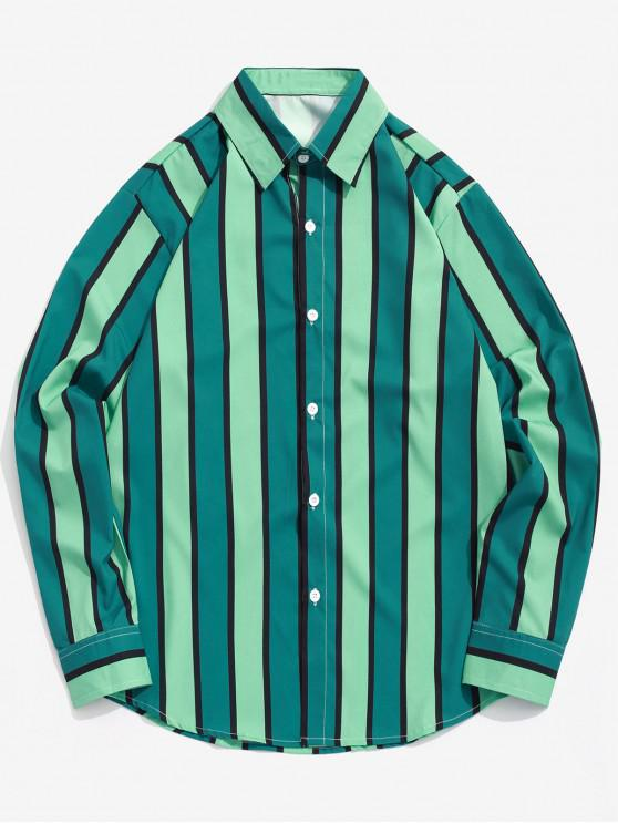 ladies Colorblock Vertical Striped Print Casual Button Shirt - MULTI XL