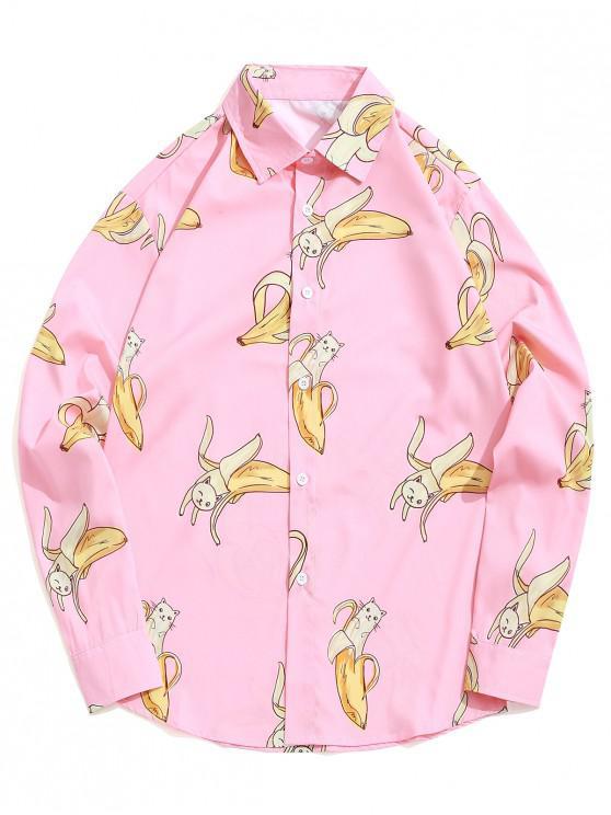 outfit Banana Cat Print Long Sleeve Button Shirt - DEEP PEACH M