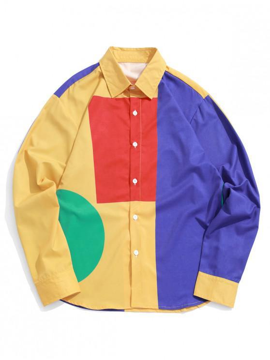 chic Color Block Spliced Geometric Print Long Sleeve Shirt - MULTI S