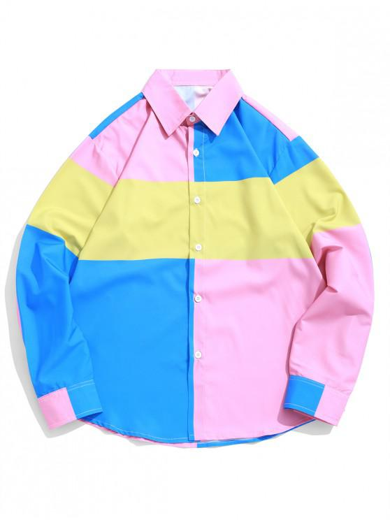 best Color Blocking Splicing Print Button Up Shirt - MULTI-B L