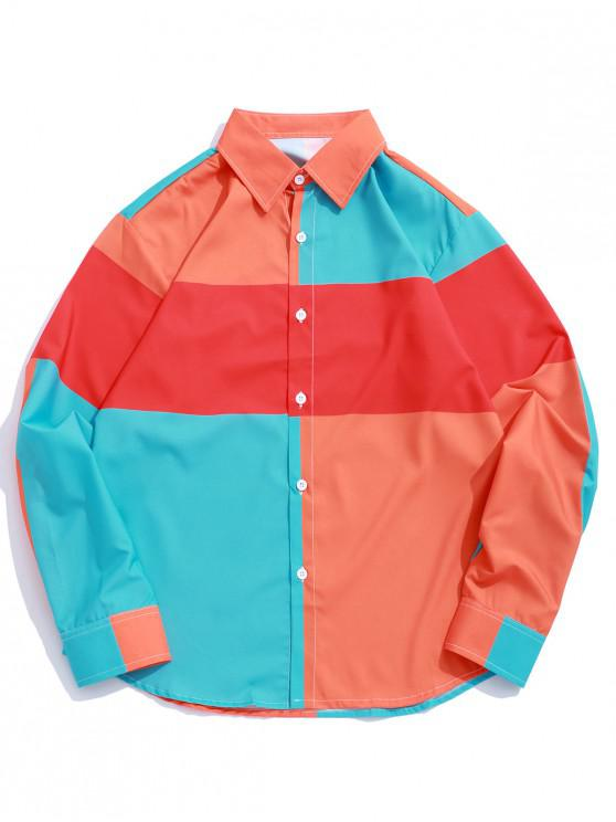 lady Color Blocking Splicing Print Button Up Shirt - MULTI L