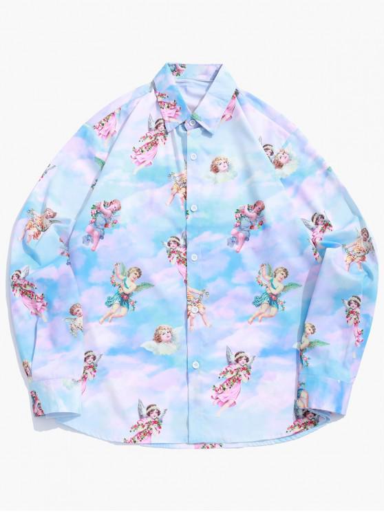fashion Paradise Floral Angel Print Long Sleeve Button Shirt - MULTI 2XL
