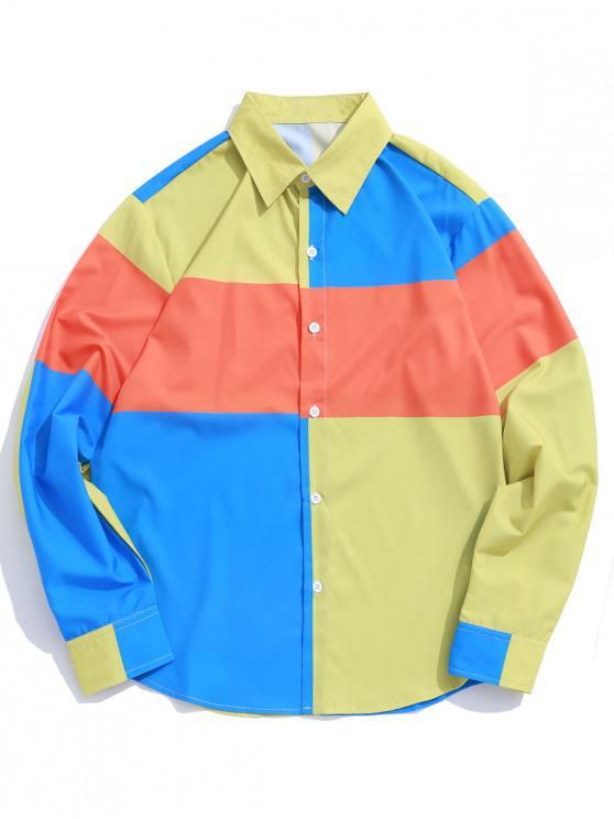 fashion Color Blocking Splicing Print Button Up Shirt - MULTI-A L