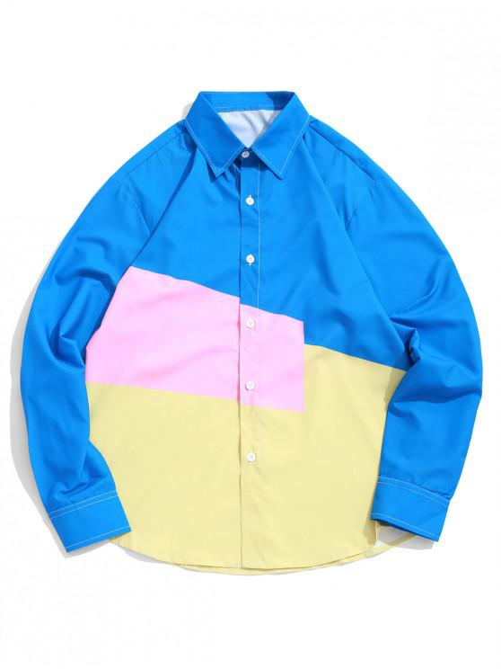 chic Color Block Splicing Long Sleeve Button Shirt - MULTI L
