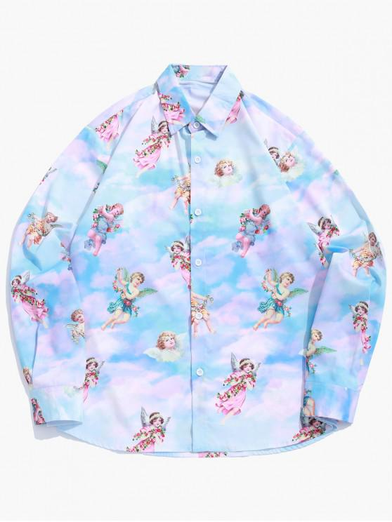 affordable Paradise Floral Angel Print Long Sleeve Button Shirt - MULTI M