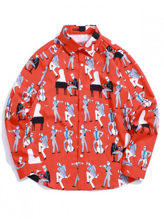 chic Playing Music Men Print Long Sleeve Casual Shirt - RUBY RED S