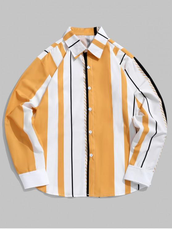 latest Color Blocking Vertical Striped Print Casual Shirt - MULTI S
