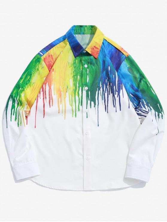 trendy Colored Painting Splatter Print Long Sleeve Shirt - WHITE S