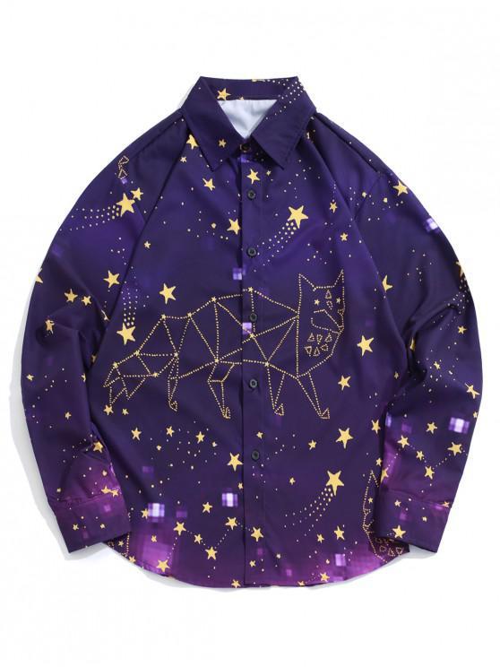 fancy Galaxy Star Animal Design Print Long Sleeve Button Shirt - PURPLE IRIS M