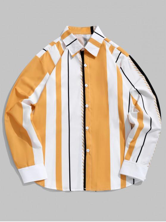 womens Color Blocking Vertical Striped Print Casual Shirt - MULTI XL
