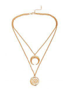 Crescent Moon Sun Pendant Necklace - Gold