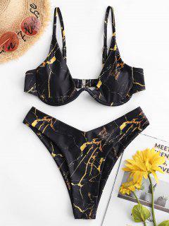 ZAFUL Maillot De Bain Bikini Eau De Mer Imprimé à Coupe Haute à Armature - Noir L