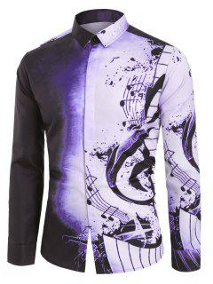 Musical Note Pattern Casual Long Sleeves Shirt - Viola Purple M