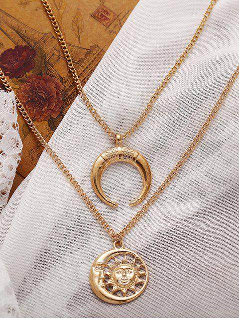 latest Crescent Moon Sun Pendant Necklace - GOLD  Mobile