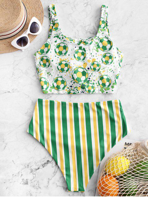 affordable ZAFUL Brazilian Flag Print Knotted Tummy Control Tankini Swimsuit - MULTI-A L Mobile