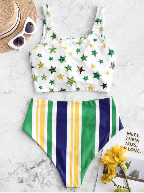 ladies ZAFUL Brazilian Flag Print Knotted Tummy Control Tankini Swimsuit - MULTI-B L Mobile