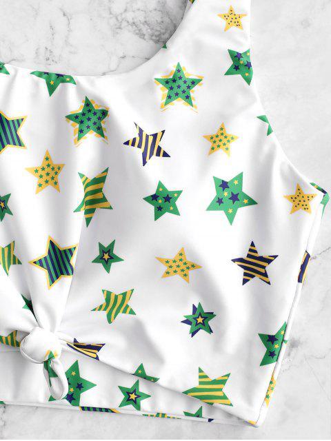 lady ZAFUL Brazilian Flag Print Knotted Tummy Control Tankini Swimsuit - MULTI-B XL Mobile