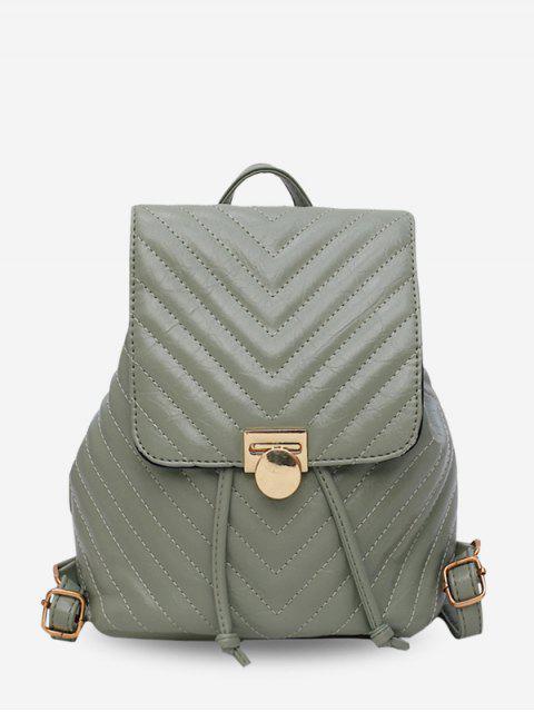 Шевронный Стеганый Рюкзак Со шнуровкой Кожа - Темный морской зеленый  Mobile