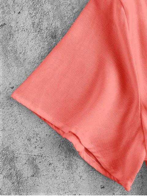 online Plunge Tie Front Crop Top - ORANGE PINK XL Mobile